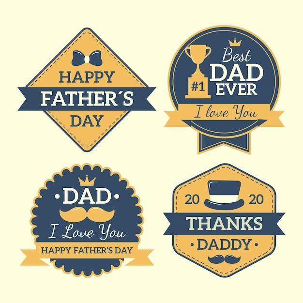 Insignias del día del padre en diseño plano vector gratuito