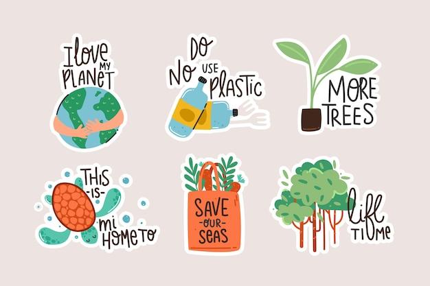 Insignias de ecología dibujadas a mano vector gratuito