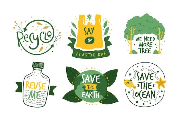 Insignias de ecología dibujadas a mano Vector Premium