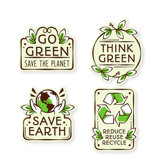 Insignias de ecología de diseño dibujado a mano vector gratuito