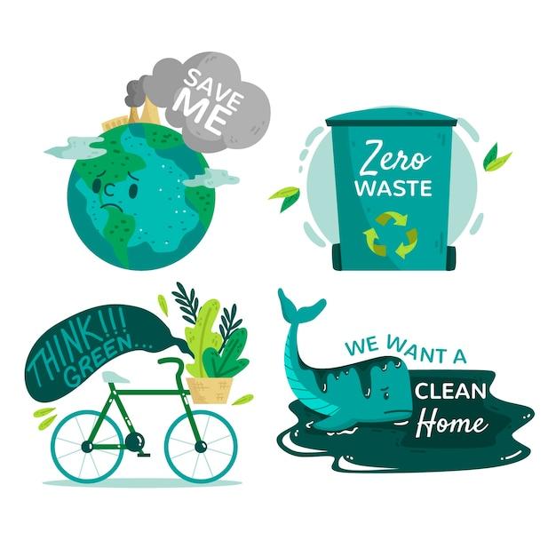 Insignias ecológicas dibujadas a mano vector gratuito