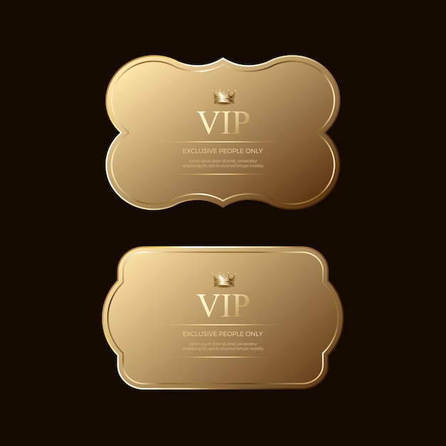 Insignias y etiquetas doradas premium de lujo Vector Premium