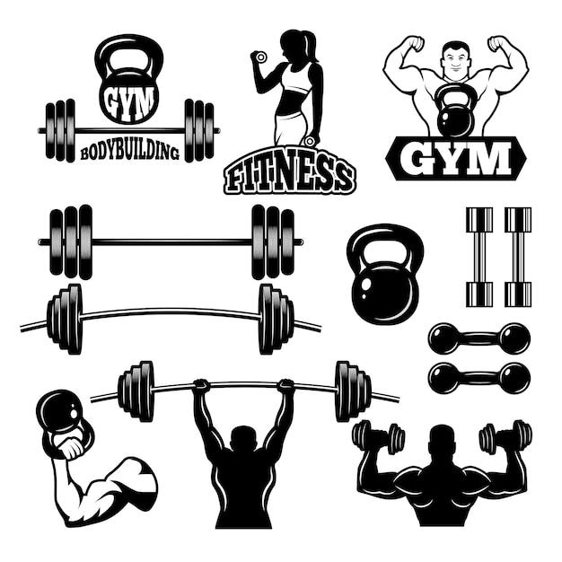 Insignias y etiquetas para gimnasio y club de fitness. símbolos deportivos en estilo monocromo Vector Premium