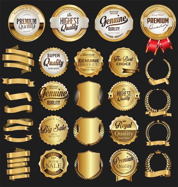 Insignias y etiquetas de oro de calidad. Vector Premium