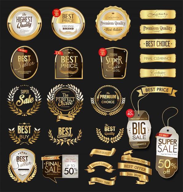 Insignias y etiquetas de oro premium de lujo Vector Premium