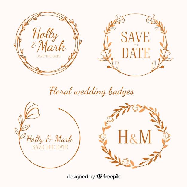 Insignias florales de boda dibujadas a mano vector gratuito