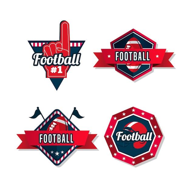 Insignias de fútbol americano con diseño retro vector gratuito