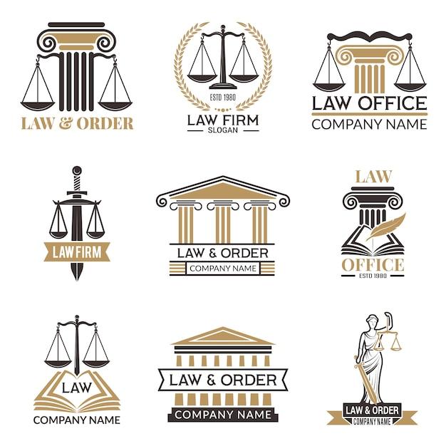 Insignias legales y legales, martillo de juez, código legal conjunto negro de etiquetas para jurisprudencia, notas legales Vector Premium