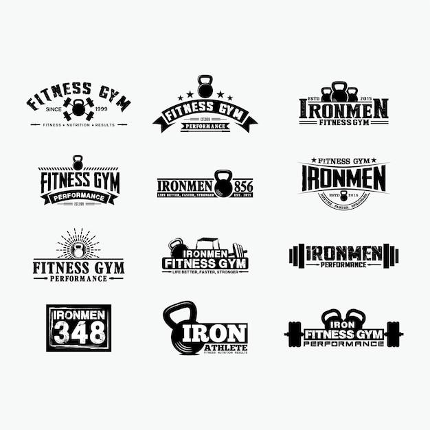 Insignias de logotipo de fitness 1 Vector Premium