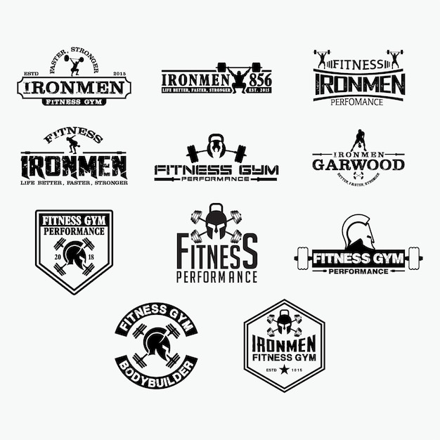 Insignias de logotipo de fitness 2 Vector Premium