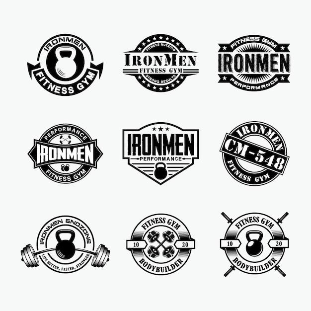Insignias de logotipo de fitness 4 Vector Premium