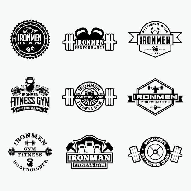 Insignias de logotipo de fitness 5 Vector Premium