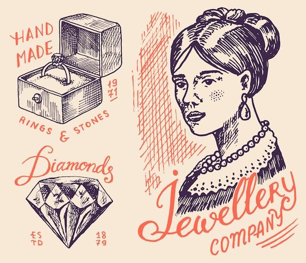 Insignias y logotipo de joyería de mujer para tienda. Vector Premium