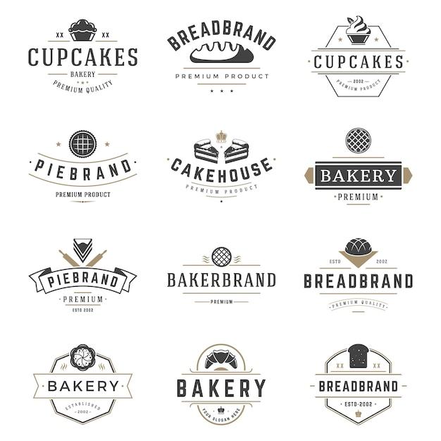 Las insignias y el logotipo de la tienda de la panadería diseñan las plantillas fijadas vector, comida de los pasteles o logotipos de la casa del horneado Vector Premium