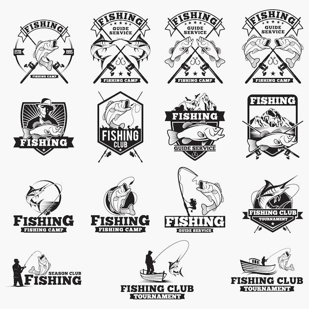 Insignias logotipos de pesca Vector Premium