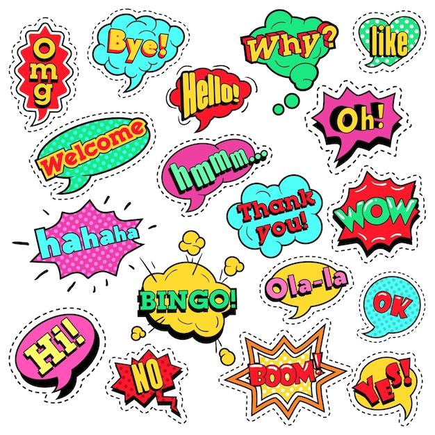 Insignias de moda, parches, pegatinas en pop art comic speech bubbles con formas frescas de puntos de semitono con expresiones wow, bingo, like. fondo retro Vector Premium