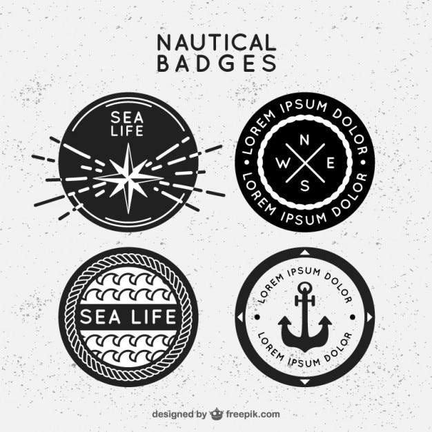 Insignias náuticas negras y blancas en diseño plano vector gratuito
