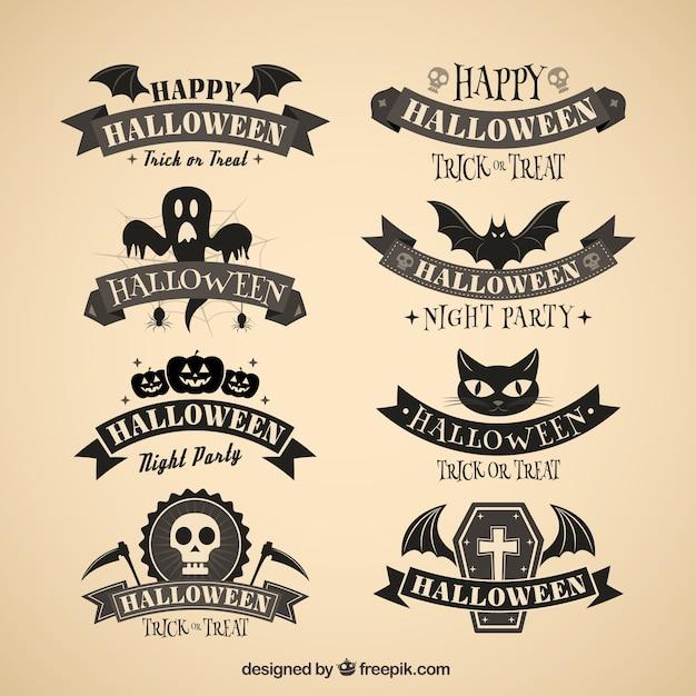 Insignias oscuro Halloween Vector Gratis