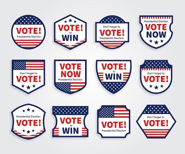 Insignias y pegatinas de votación vector gratuito