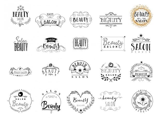 Insignias del salón de belleza Vector Premium