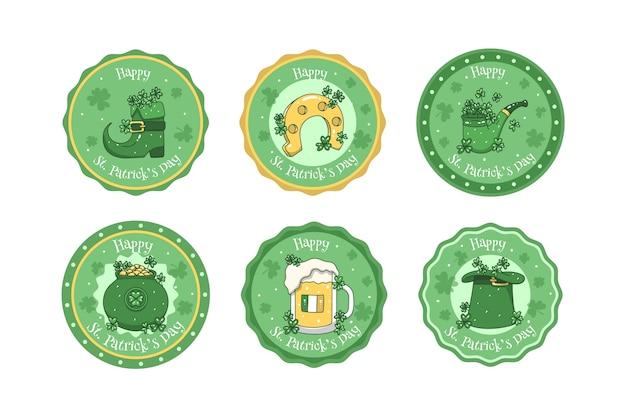 Insignias de tapas de cerveza st. dibujado a mano del día de patricio vector gratuito