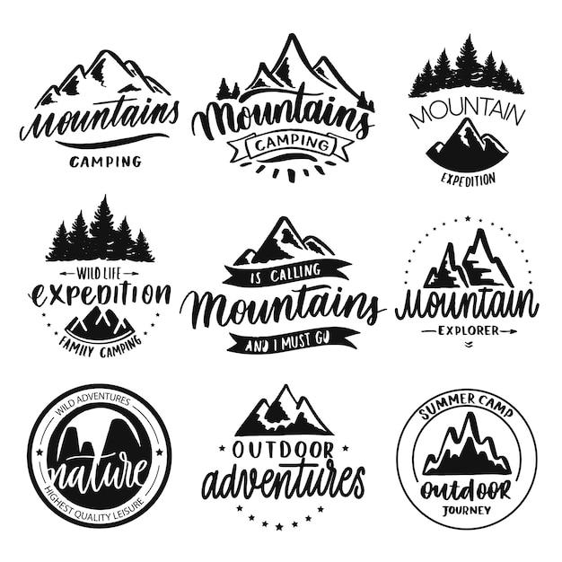 Insignias de viaje montañas Vector Premium