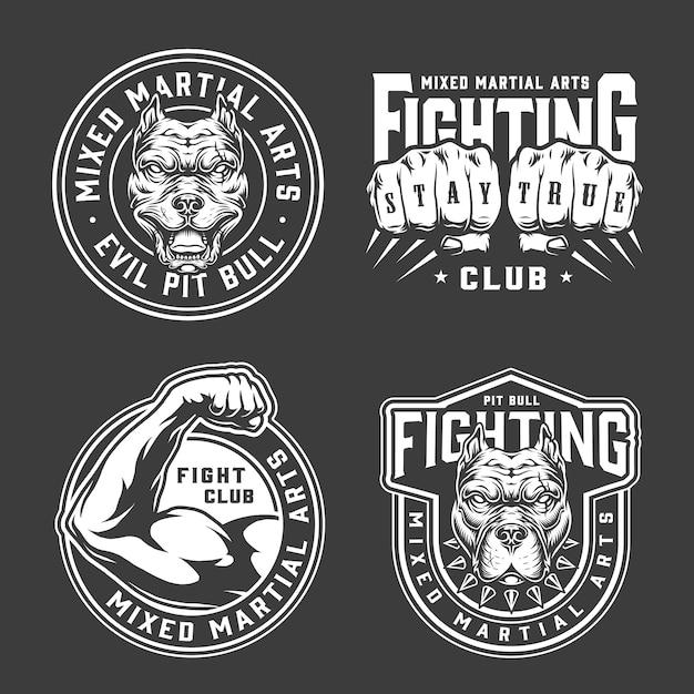 Insignias vintage de artes marciales mixtas vector gratuito