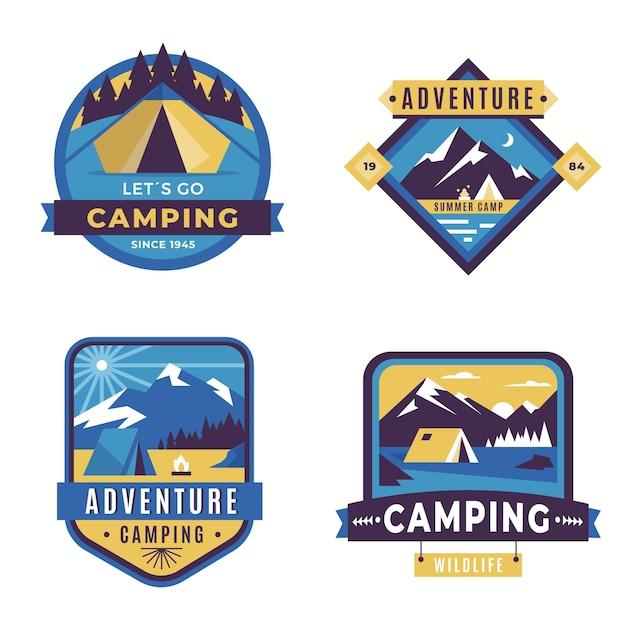 Insignias vintage de aventura y camping Vector Premium