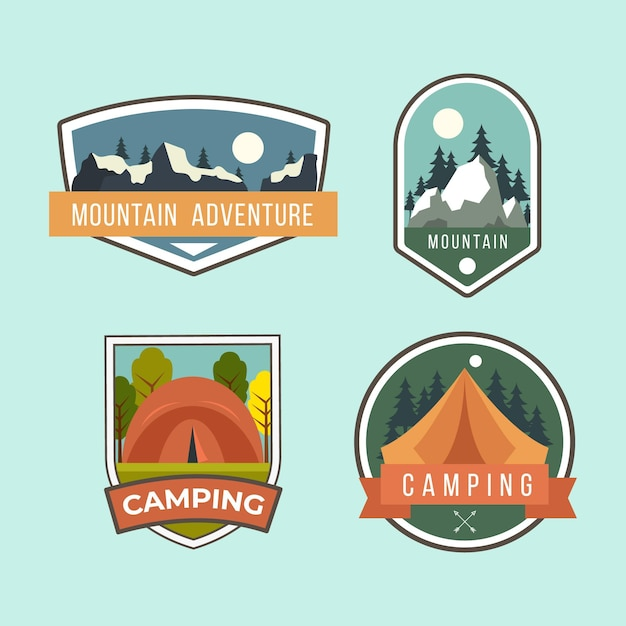 Insignias vintage de camping y aventuras vector gratuito