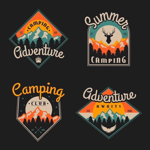 Insignias vintage de camping y aventuras Vector Premium