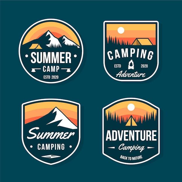 Insignias vintage de camping y aventuras. Vector Premium
