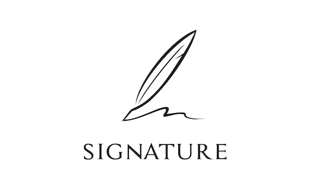Inspiración del diseño del logo de quill signature Vector Premium