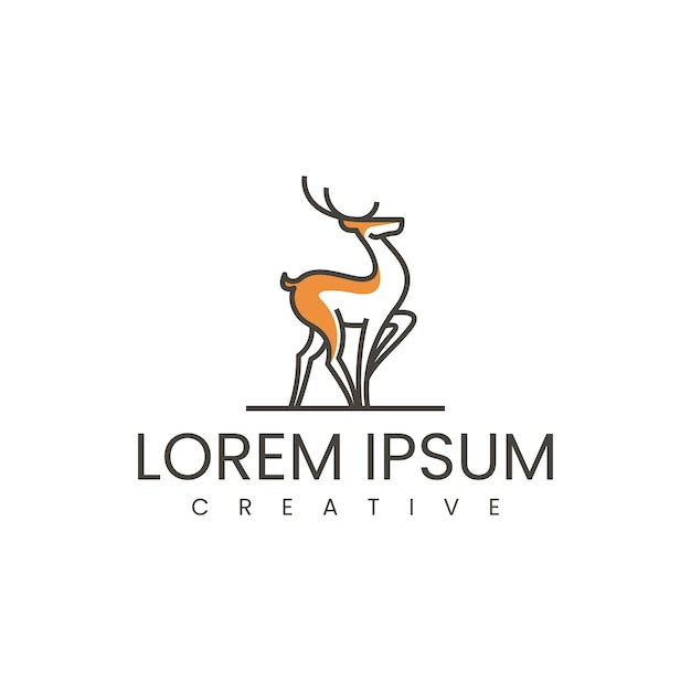 Inspiración para el diseño del logotipo de ciervos caminando Vector Premium