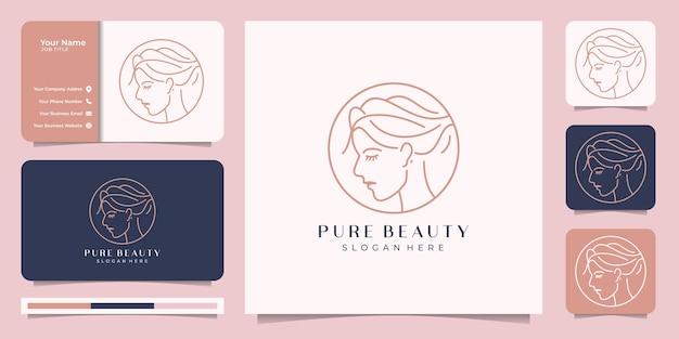 Inspiración para un hermoso estilo de arte de líneas faciales. diseño de logo y tarjeta de visita. concepto de diseño abstracto para salón de belleza, masajes, revista, cosmética y spa. Vector Premium