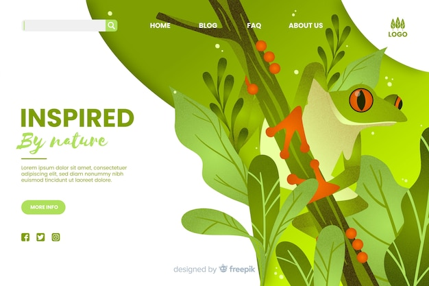 Inspirado en la plantilla web de la naturaleza vector gratuito