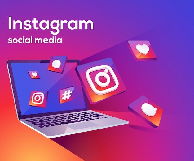Instagram 3d redes sociales iicon con laptop dekstop Vector Premium