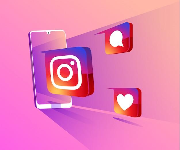 Instagram 3d redes sociales con ilustración de símbolo de teléfono inteligente Vector Premium