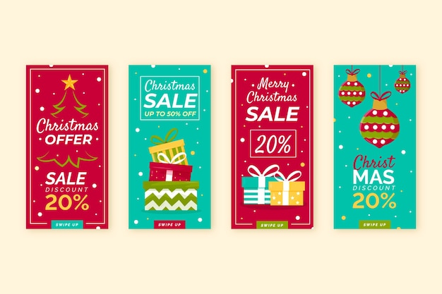 Instagram christmas sale story collection vector gratuito