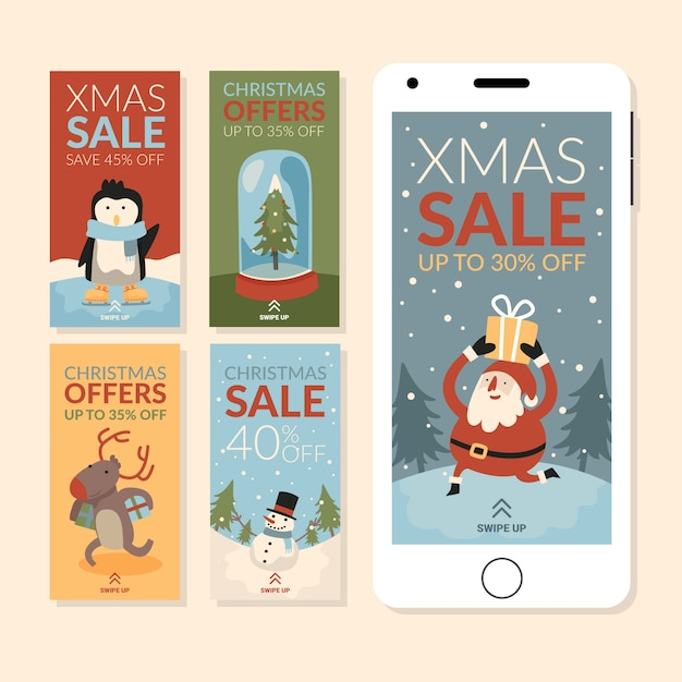 Instagram christmas sale story set vector gratuito