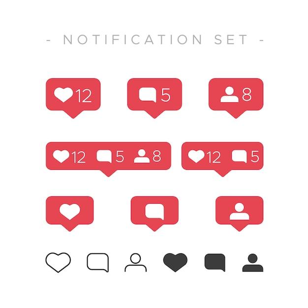 Instagram como conjunto de notificaciones Vector Gratis