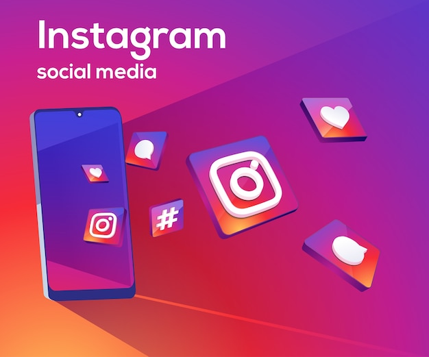 Instagram iconos de redes sociales 3d con símbolo de teléfono inteligente Vector Premium