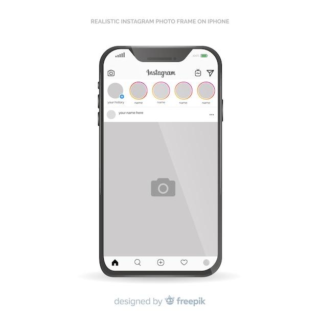 Instagram plantilla de publicación en iphone vector gratuito