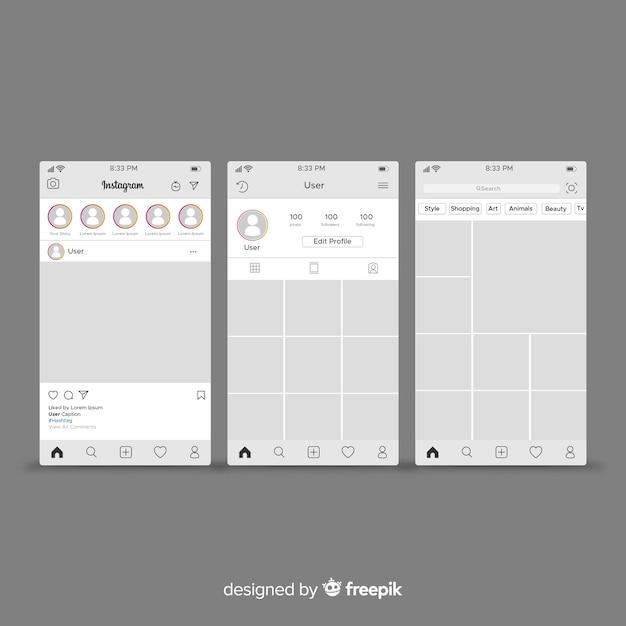 Instagram plantilla de publicación y perfil vector gratuito