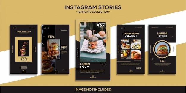 Instagram stories hamburguesa comida restaurante glamour lujo colección de plantillas Vector Premium