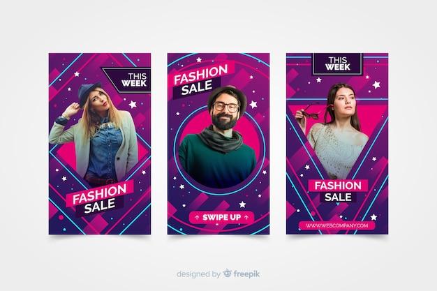 Instagram stories de rebajas de moda con fotografía vector gratuito