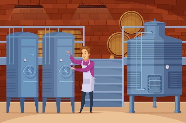 Instalación de producción de bodegas composición de dibujos animados vector gratuito
