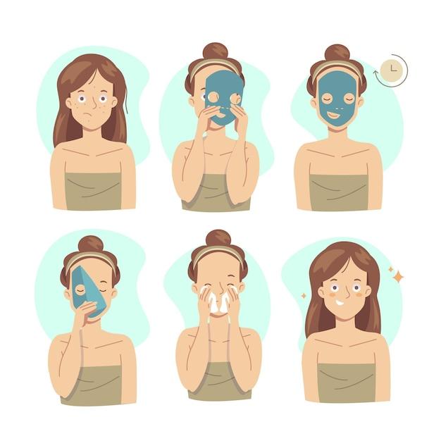 Instrucciones de la máscara de hoja vector gratuito
