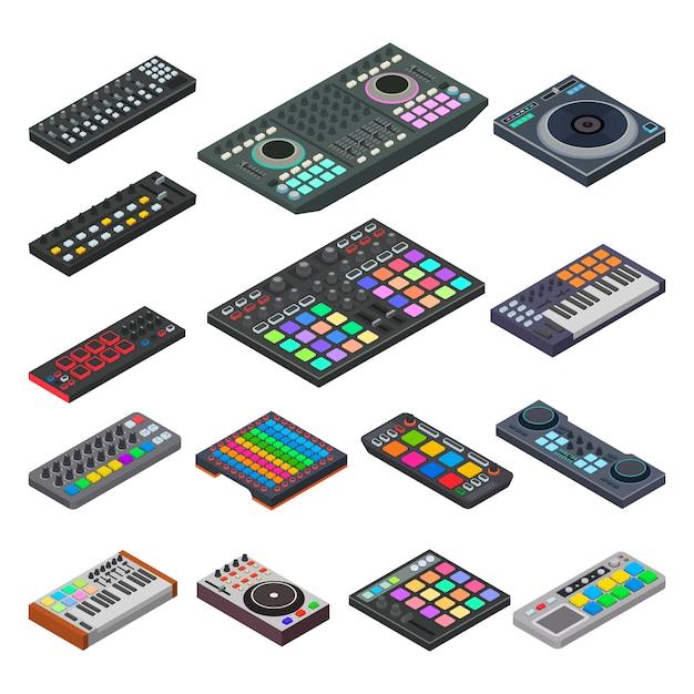 Instrumento musical de equipo de sonido de audio de vector de teclado midi para ilustración de música digital Vector Premium