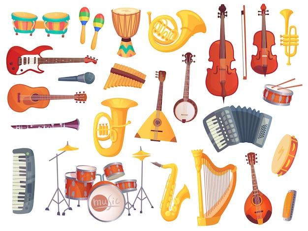 Instrumentos musicales de dibujos animados, guitarras, tambores bongo, cello, saxofón, micrófono, batería aislada. colección de vectores de instrumentos musicales Vector Premium