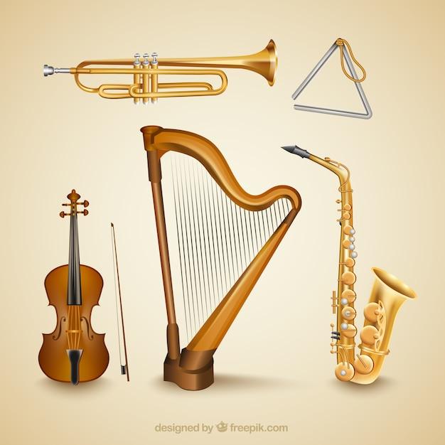 Instrumentos musicales realistas vector gratuito